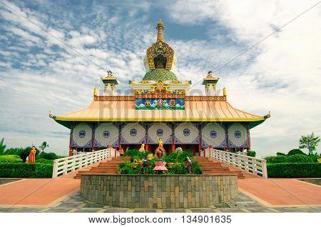 Buddhist temple in Lumbini, birthplace of legendary Siddharta