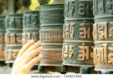 Buddhist rolling prayers in Durbar Square, Nepal