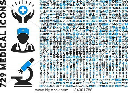 Medical Icon Set with 729 vector icons. Style is bicolor blue and gray flat icons isolated on a white background.