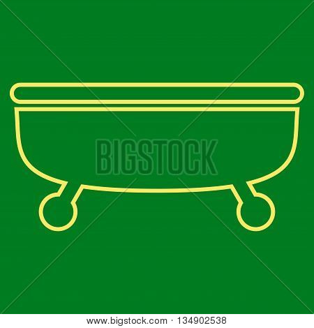 Bathtub glyph icon. Style is outline flat icon symbol, yellow color, green background.
