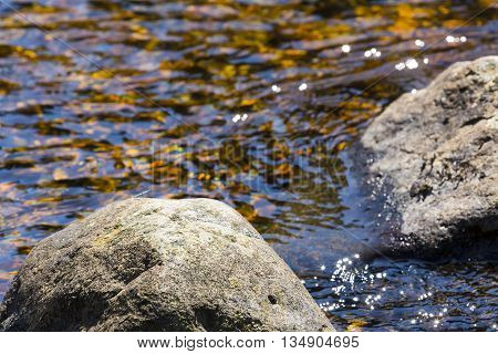Rock and a babbling stream.  The ripples refelcting a spring afternoons sunshine.
