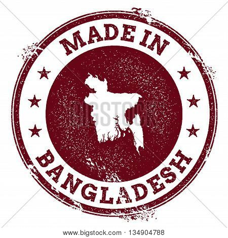 Bangladesh Vector Seal. Vintage Country Map Stamp. Grunge Rubber Stamp With Made In Bangladesh Text