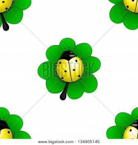 Seamless pattern with yellow ladybug on the green leave