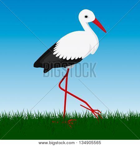 Vector storck on natural green blue background