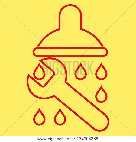 Shower Plumbing glyph icon. Style is stroke flat icon symbol, red color, yellow background.