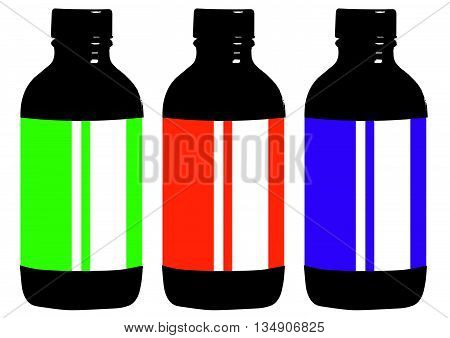 Flat style medical pharmaceutical bottles glasses containers scales icon set. Medicine pharmacy collection.