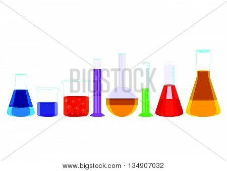 Chemical test tubes and pills icons illustration vector