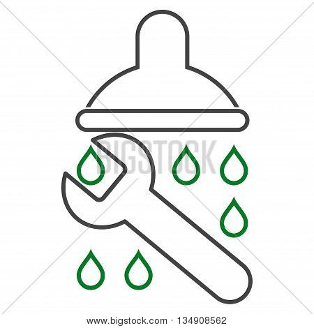 Shower Plumbing glyph icon. Style is contour bicolor flat icon symbol, green and gray colors, white background.