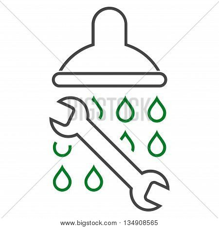 Shower Plumbing glyph icon. Style is stroke bicolor flat icon symbol, green and gray colors, white background.