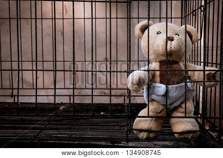 Cute teddy bear in jail vintage tone