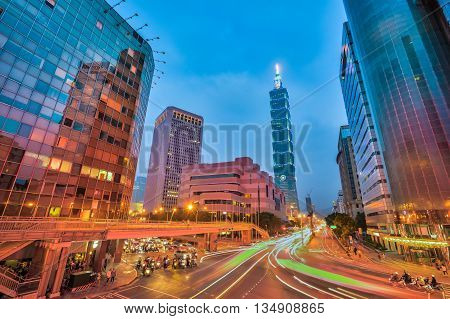 Taipei City Street At Night In Taiwan