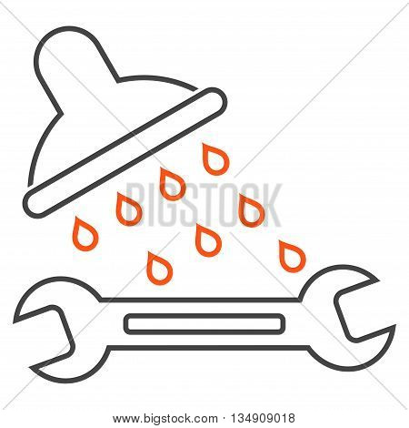 Shower Plumbing glyph icon. Style is stroke bicolor flat icon symbol, orange and gray colors, white background.