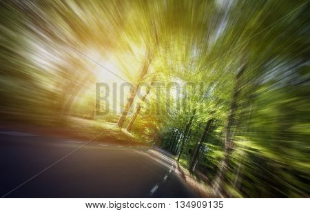 Country road, motion blure