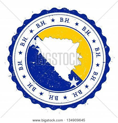 Bosnia And Herzegovina Map And Flag In Vintage Rubber Stamp Of State Colours. Grungy Travel Stamp Wi