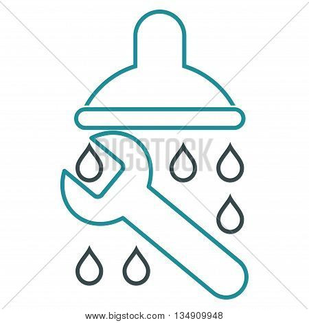 Shower Plumbing glyph icon. Style is stroke bicolor flat icon symbol, soft blue colors, white background.