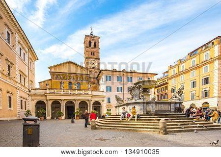 The Trastevere Square In Rome, Italy