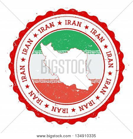 Iran, Islamic Republic Of Map And Flag In Vintage Rubber Stamp Of State Colours. Grungy Travel Stamp