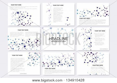 Modern vector templates for brochure, flyer, cover magazine or report in A4 size. Molecule structure and communication on the blue background.,