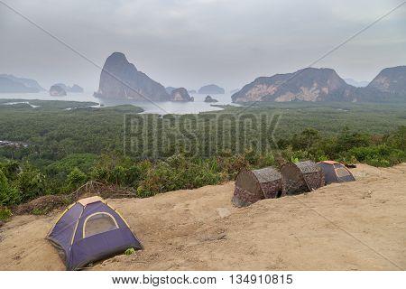 tourist tents at viewpoint at Sa Met Nang She in Phang Nga bay Thailand