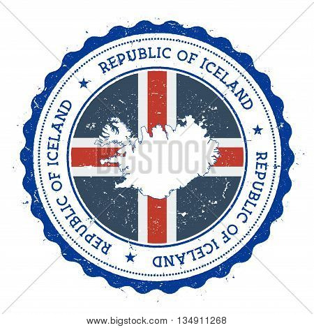 Iceland Map And Flag In Vintage Rubber Stamp Of State Colours. Grungy Travel Stamp With Map And Flag