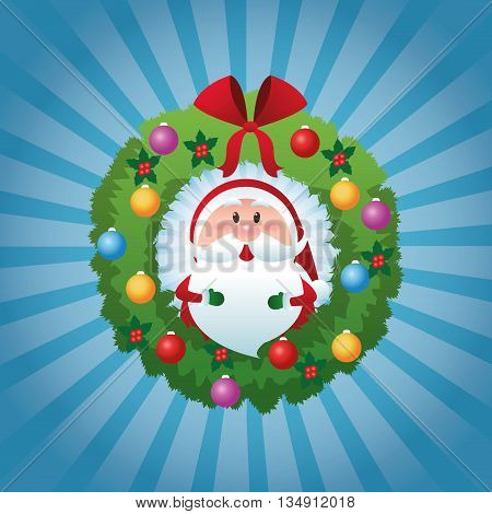 Merry Christmas represented by cartoon of santa inside pine crown over blue and flat background