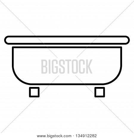 Bathtub glyph icon. Style is linear flat icon symbol, black color, white background.