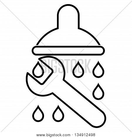 Shower Plumbing glyph icon. Style is contour flat icon symbol, black color, white background.