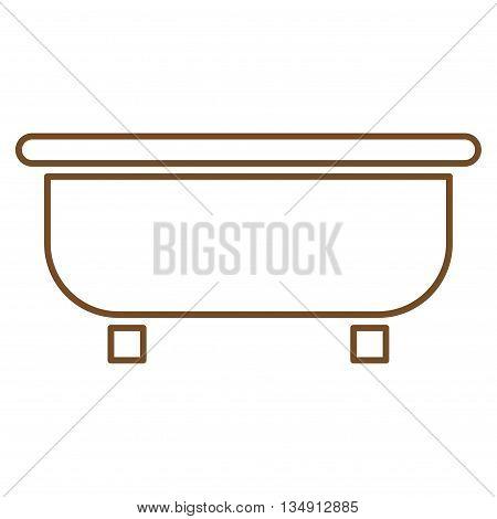 Bathtub glyph icon. Style is contour flat icon symbol, brown color, white background.