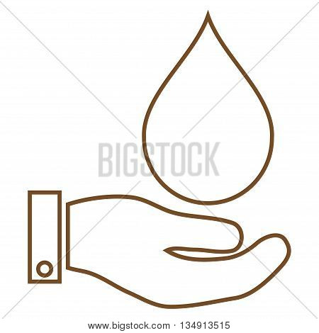Water Service glyph icon. Style is outline flat icon symbol, brown color, white background.