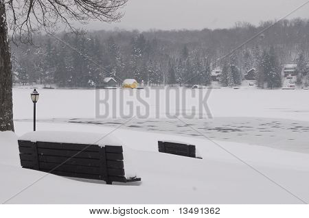 Winter Yellow Boathouse