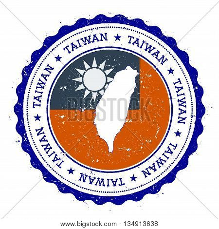 Taiwan, Republic Of China Map And Flag In Vintage Rubber Stamp Of State Colours. Grungy Travel Stamp