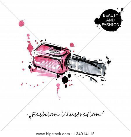 Vector illustration of nail polish. Fashion illustration. Beauty and fashion. Watercolor.