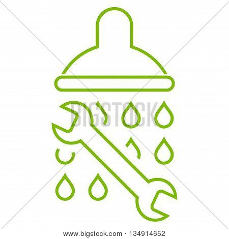 Shower Plumbing glyph icon. Style is outline flat icon symbol, eco green color, white background.