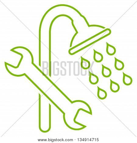 Shower Plumbing glyph icon. Style is contour flat icon symbol, eco green color, white background.