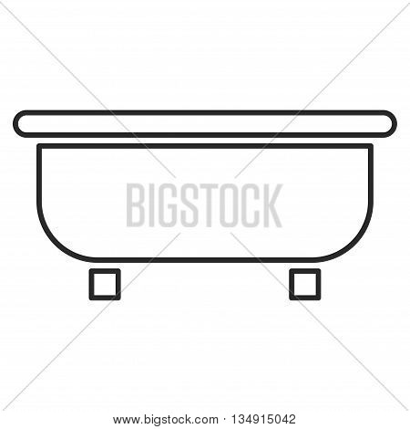Bathtub glyph icon. Style is stroke flat icon symbol, gray color, white background.