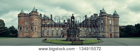 Palace of Holyroodhouse panorama in Edinburgh United Kingdom.