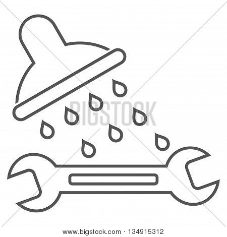 Shower Plumbing glyph icon. Style is outline flat icon symbol, gray color, white background.
