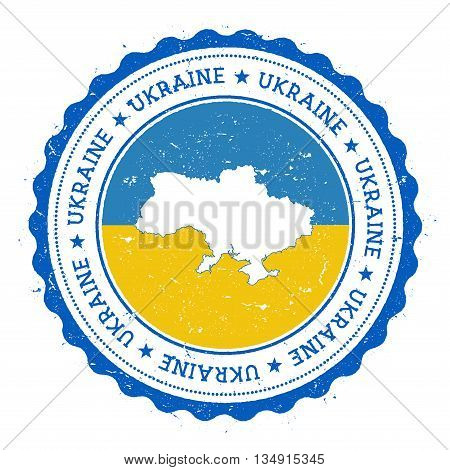 Ukraine Map And Flag In Vintage Rubber Stamp Of State Colours. Grungy Travel Stamp With Map And Flag