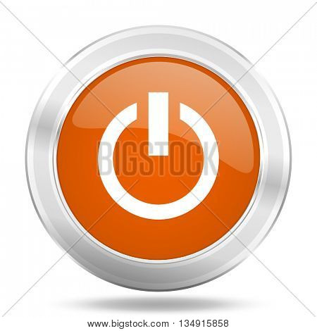 power vector icon, orange circle metallic chrome internet button, web and mobile app illustration