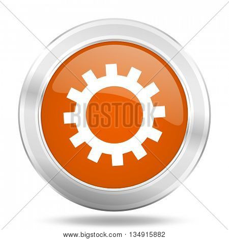 gear vector icon, orange circle metallic chrome internet button, web and mobile app illustration