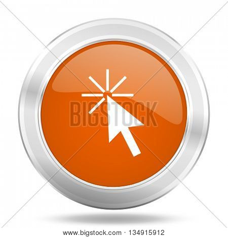 click here vector icon, orange circle metallic chrome internet button, web and mobile app illustration