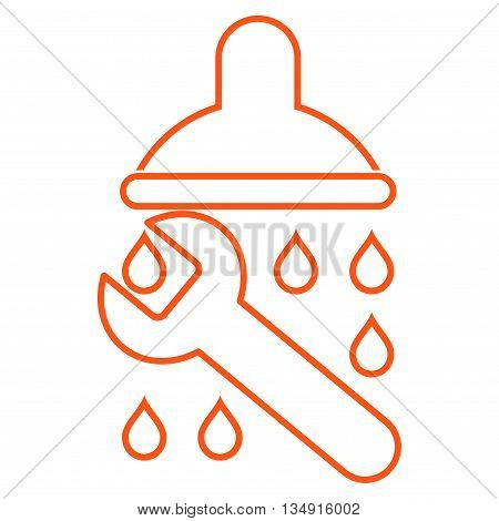 Shower Plumbing glyph icon. Style is outline flat icon symbol, orange color, white background.