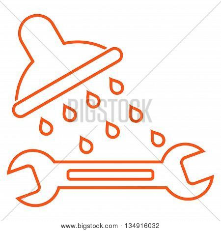 Shower Plumbing glyph icon. Style is contour flat icon symbol, orange color, white background.