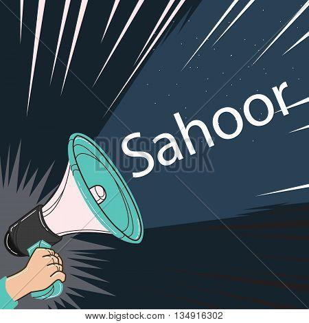 megaphone speaker alert for sahoor or sahur sketch drawing vector