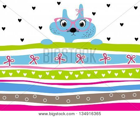 Cute kitty girl wearing glasses striped background with hearts and ribbons. Animal striped background. Kitty wallpaper for girls