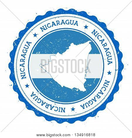 Nicaragua Map And Flag In Vintage Rubber Stamp Of State Colours. Grungy Travel Stamp With Map And Fl