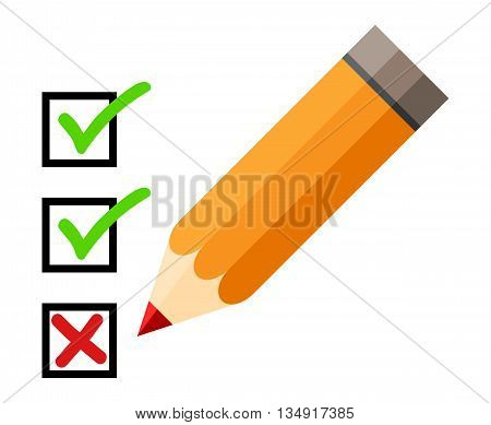 Checklist and pencil. Checking off tasks. White background. Red pencil. Green check mark. Green tick icon