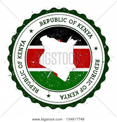 Kenya Map And Flag In Vintage Rubber Stamp Of State Colours. Grungy Travel Stamp With Map And Flag O