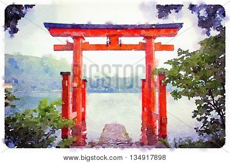 Digital watercolour of a Torii Gate in a lake, Hakone, Japan