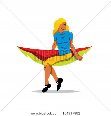 Nice young lady in hummock. Isolated on a white background